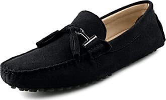 MGM-Joymod Mens Fashion Tassels Black Suede Driving Walking Moccasin Penny Loafers Flats Slip-on Shoes 9 M UK