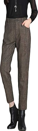 Yonglan Womens Casual Harem Pants Tartan Check Cigarette Trouser Stretch Tapered Pants Coffee9 L