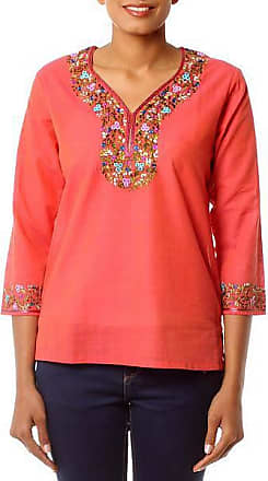 Novica Cotton blouse, Tangerine Floral - Handcrafted Floral Cotton Orange Blouse Tunic Top