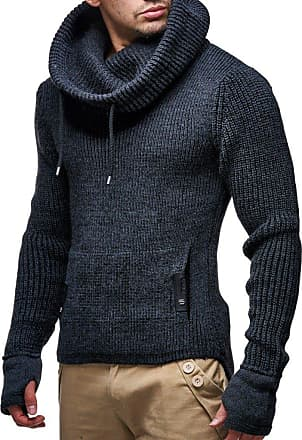 LEIF NELSON Mens Pullover Knit Sweater Chunky Knit Shawl Collar LN-5060 Anthracite XXX-Large
