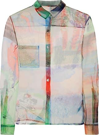 Quetsche Camicia semi trasparente con stampa - Di colore verde