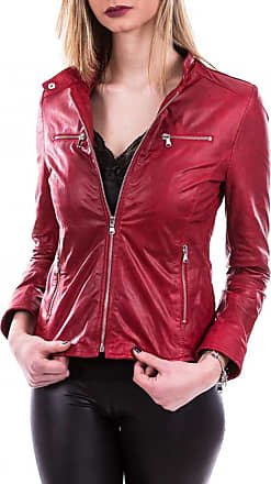 Leather Trend Italy Vanessa - Giacca Donna in Vera Pelle colore Rosso Oil Vintage