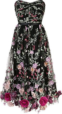 Marchesa floral appliqué midi dress - Black