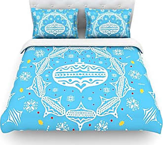 KESS InHouse Miranda Mol Deco Wreath Blue Aqua Cotton Duvet Cover, 88 by 88-Inch