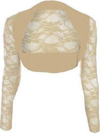 Top Fashion18 Womens Long Sleeve Lace Floral Ladies Cropped Short Shrug Bolero Cardigan Top 8-22 Beige