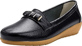 Daytwork Women Leather Moccasins - Ladies Slip on Loafers Flats Casual Round Toe Wedge Heel Driving Shoes Walking Work Office Comfort Black