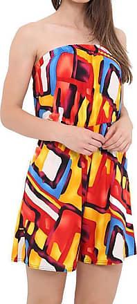 Islander Fashions Womens Boobtube Bardot Off Shoulder Short Jumpsuit Ladies Fancy Printed Playsuit Multi Paint Medium/Large UK 12-14