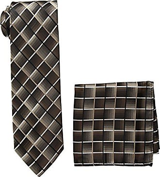 Pierre Cardin Mens Shaded Grid Tie and Pocket Square, N8382A-Black/Taupe, One Size