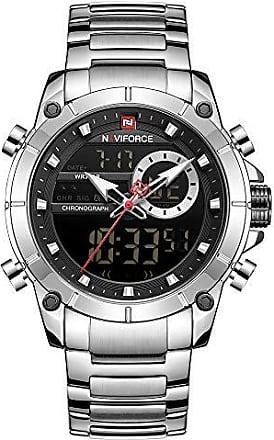 NAVIFORCE Relógio Masculino Naviforce NF9163 SB Pulseira em Aço Inoxidável - Inox e Preto