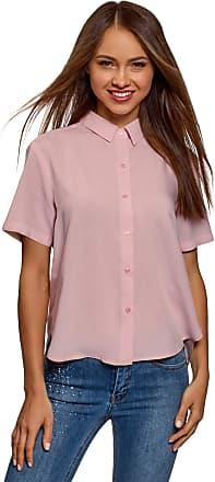 oodji Womens Short Sleeve Viscose Blouse, Pink, UK 14 / EU 44 / XL
