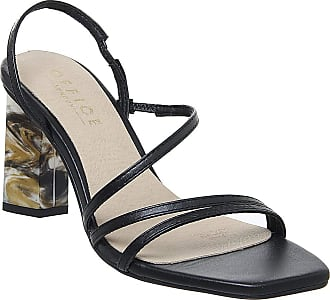 Office Mocktail- Strappy Feature Heel Sandal Black Leather - 5 UK