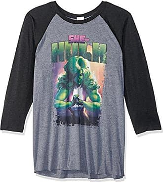 f6f51dfb6 MARVEL Mens Official Hulk Punch Fashion Raglan, PHTR/Black White, xx-Large