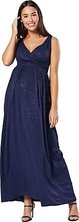 Happy Mama Womens Maternity Nursing Sparkly Sleeveless Maxi Dress 1144 (Navy, UK 8, S)