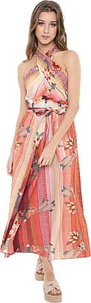 Dress To Vestido Frente Única Linho Dress to Midi Floral Rosa/Amarelo