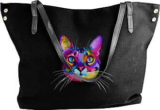 Juju Colorful Cat Head Womens Classic Shoulder Portable Big Tote Handbag Work Canvas Bags