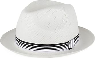 Hat To Socks Straw Style Trilby Hat with Striped Grosgrain Band (White, M)
