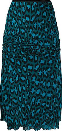 Diane Von Fürstenberg Saia lápis com estampa de leopardo - Azul