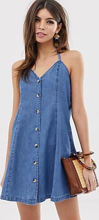 Asos Denim - Vestitino di jeans allacciato al collo con bottoni blu lavaggio medio