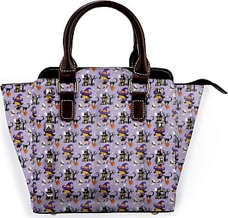 Browncin Wizard Halloween Pattern Witch On A Broomstick With Her Cat And Haunted Ghosts House Lilac Multicolor Detachable Fashion Trend Ladies Handbag Shoulder