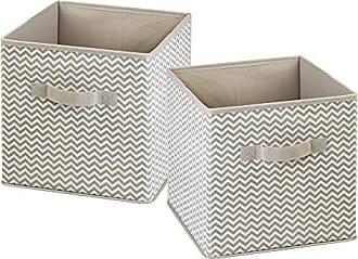 InterDesign Chevron Fabric Closet Organizer Box - Soft Storage Bin for Clothing, Shoes, Handbags, Linen - Small, Taupe/Natural, Set of 2