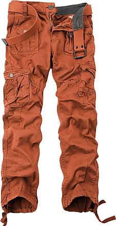 OCHENTA Ochenta mens loose-fit casual trousers water scrubbing cargo pants with multiple pockets made of cotton, Orange, 33