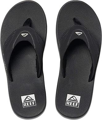 Reef Mens Fanning Sandals, Black (Black / Silver),3 UK (35 EU) (4 US)