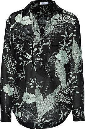 Equipment Equipment Woman Knox Lace-up Floral-print Cotton And Silk-blend Broadcloth Shirt Black Size XS