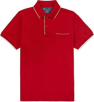 Loro Piana Regatta Contrast-tipped Stretch-cotton Piqué Polo Shirt - Red