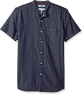 Goodthreads Mens Standard-Fit Short-Sleeve Band-Collar Denim Shirt, -dark blue, XX-Large Tall