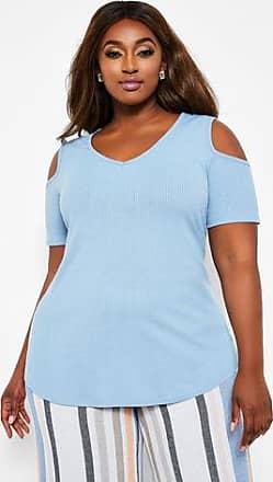 efef479a45370 Ashley Stewart Plus Size Ribbed V Neck Cold Shoulder Top