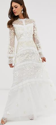 Needle & Thread Bridal lace maxi dress with button detail in ivory-Blue