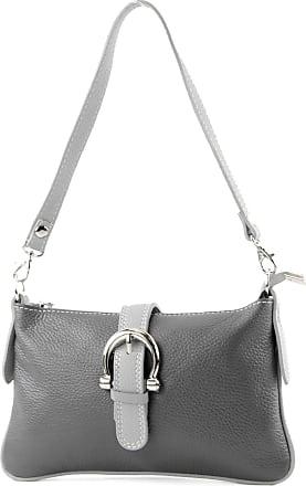 modamoda.de Italian handbag shoulder bag tote bag messenger bag real leather bag T05, Colour:Dark Gray/Gray