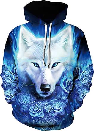 Ocean Plus Mens Digital Printing Hooded Long Sleeves Autumn Halloween Skull Hoody Loose Sports Hoodies (XXL (Chest: 127-147CM), Blue Roses and White Wolf)