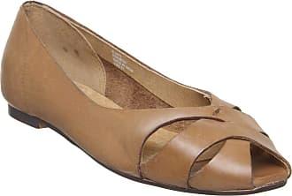 Office Fickle Peep Toe Flat Tan Leather - 5 UK