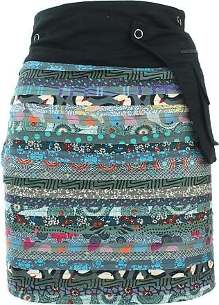 Loud Elephant Reversible Popper Wrap Knee Length Skirt - Grey Patch Strips/Spiral Garden