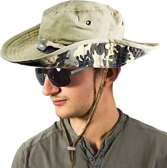 TOSKATOK Unisex Safari Outback Australian Style Cotton Bush HAT with Wide Brim, Chin Strap, Side Press Studs and AIR Vents-2 Khaki CAMO
