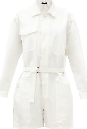 Haider Ackermann Belted-waist Cotton Jumpsuit - Womens - White