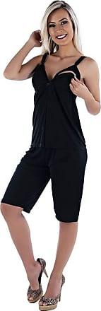 Estilo Sedutor Pijama Para Gestante Amamentação Preto em Liganete - ME40020