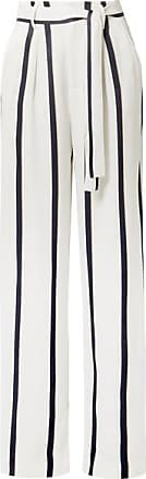 Equipment Evonne Striped Satin Wide-leg Pants - White
