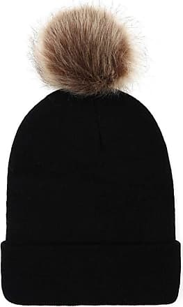 JERFER New Store Offer Women Keep Warm Winter Faux Fur Ball Knitted Ski Beanie Hemming Hat Cap Brown