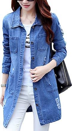 OCHENTA Girls Loose Fit Long Sleeve Vintage Denim Light Wash Faded Boyfriend Jean Jacket L Blue UK 10-Tag M