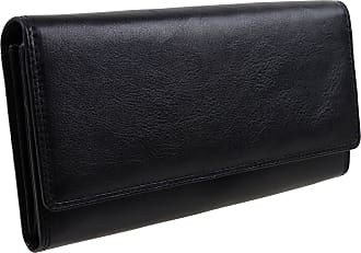 Visconti Ladies Larger LEATHER Purse Wallet by Visconti; Heritage Collection Gift Boxed (Black)