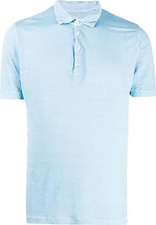120% Lino Camisa polo lisa - Azul