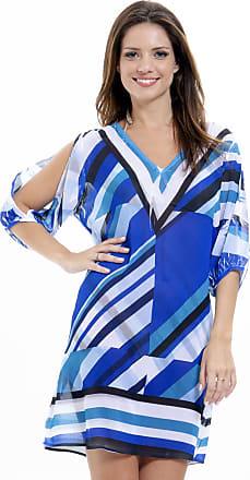 de703b72e 101 Resort Wear Vestido 101 Resort Wear Saida Crepe Geométrico Azul