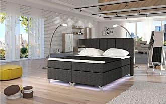 Stylefy Basilio LED Boxspringbett 185x205x126 cm Grau I