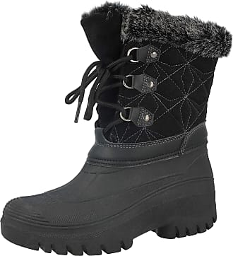 Groundwork LS005 Womens Mukker Stable Yard Winter Snow Lace Up Boots (UK 7, Black/Dark Grey)