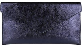 Girly HandBags Girly HandBags Genuine Leather Italian Metallic Shimmer Envelope Wrist Clutch Bag (Navy)