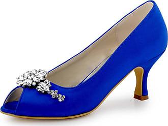 Elegantpark HP1541 Women Peep Toe Mid Heels Rhinestones Shoe Clips Pumps Wedding Satin Court Shoes Blue UK 6