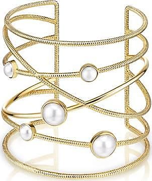 Misaki Bracelet manchette Sacred doré en perles blanches