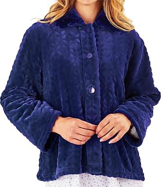 Slenderella Ladies 24/61cm Navy Blue 300GSM Soft Thick Velvet Fleece Faux Fur Collared Button Up Bed Jacket Medium UK 12/14